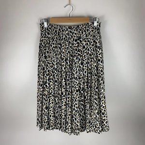 PETITE J Crew Leopard Pleated Skirt 4P